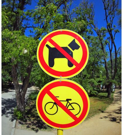 Prohibiting signs no-dogs and no-bikes in the park Sticker