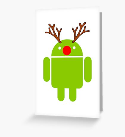 Red Nosed Android Robot Greeting Card