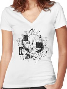 Octopus Ink Women's Fitted V-Neck T-Shirt
