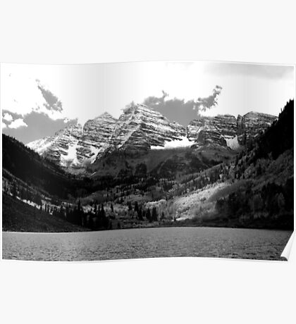 Maroon Bells in Black and White Poster