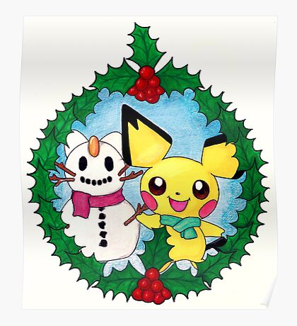 Pichu Holiday Wreath Poster