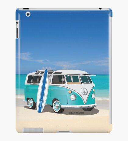 Hippie Split Window VW Bus Teal & Surfboard & Ocean iPad Case/Skin