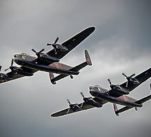 The 2 Lancasters - Tail Chase - Dunsfold 2014 by Colin  Williams Photography