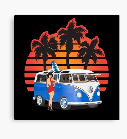 Hippie Split Window VW Bus Blue Palms Girl Sunset Canvas Print