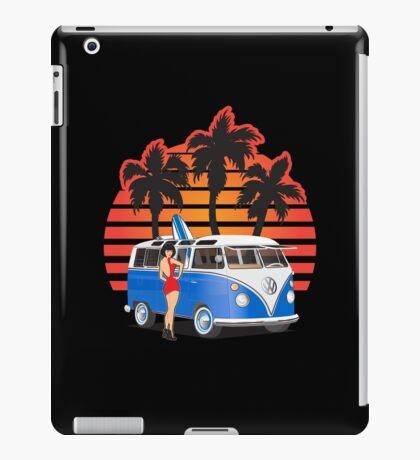 Hippie Split Window VW Bus Blue Palms Girl Sunset iPad Case/Skin