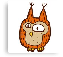 Cute funny little owl Canvas Print