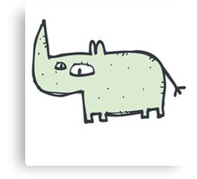 Funny cute cartoon rhinoceros Canvas Print