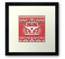 Vintage Retro Camper Van Sweater Knit Style Framed Print