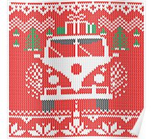 Vintage Retro Camper Van Sweater Knit Style Poster