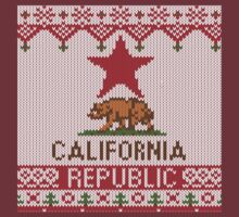 California Republic Bear on Christmas Ugly Sweater T-Shirt