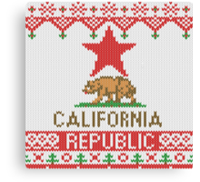California Republic Bear on Christmas Ugly Sweater Canvas Print