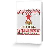 California Republic Bear on Christmas Ugly Sweater Greeting Card