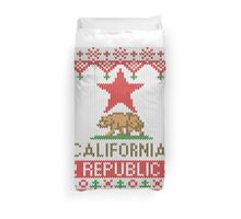 California Republic Bear on Christmas Ugly Sweater Duvet Cover