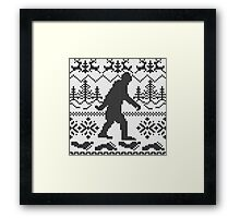 Gone Squatchin Ugly Christmas Sweater Knit Style Framed Print
