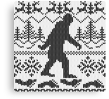 Gone Squatchin Ugly Christmas Sweater Knit Style Canvas Print
