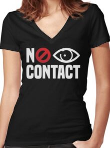 No Eye Contact - Cancel Sign Anti-Social Person Women's Fitted V-Neck T-Shirt