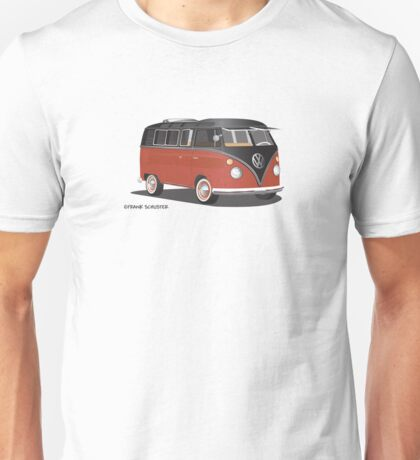 21 Window VW Bus Red/Black Hippie or Surfer Van Unisex T-Shirt