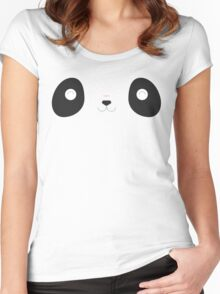 Blushing Panda Face - Save The Wildlife Bamboo Leaves Women's Fitted Scoop T-Shirt