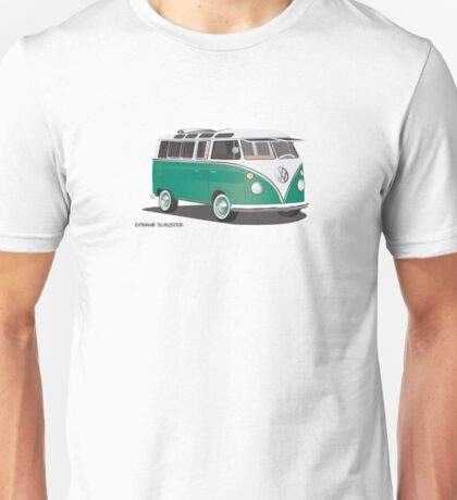VW Bus T2 Samba Green Wht Hippie Van Unisex T-Shirt