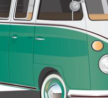 VW Bus T2 Samba Green Wht Hippie Van Sticker