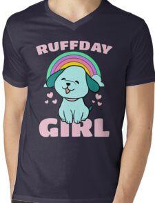 Ruffday Girl - Happy Birthday Girl Puppy Dog Hearts Rainbow Mens V-Neck T-Shirt