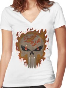 Ghost Punisher Women's Fitted V-Neck T-Shirt