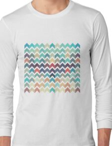Watercolor Chevron Pattern Long Sleeve T-Shirt