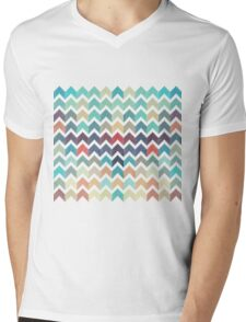 Watercolor Chevron Pattern Mens V-Neck T-Shirt