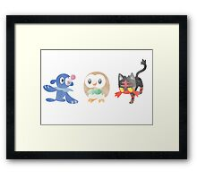 Pokemon Sun and Moon Starters Minimalist in Watercolour Framed Print