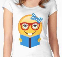 Bookworm Emoji Reading a Book Women's Fitted Scoop T-Shirt