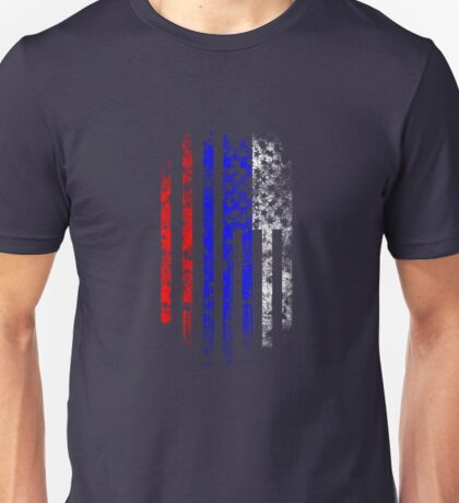 Russia and America Flag Combo Distressed Design Unisex T-Shirt