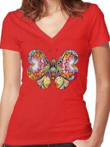 """Flutterby"" Women's Fitted V-Neck T-Shirt"