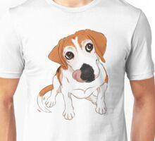 Hungry Beagle Dog - Pink Background / hound dog food foodie treats cute begging dog art artwork Unisex T-Shirt