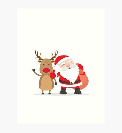 Merry Chrismas Oldman Reindeer Ugly Sweater Xmas  Art Print