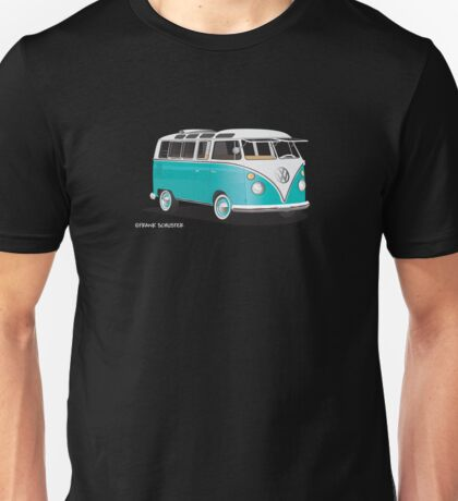 VW Bus T2 Teal White Hippie Van Unisex T-Shirt