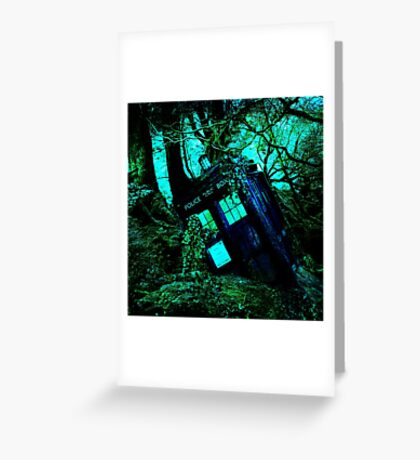 tardis-chested in the woods Greeting Card