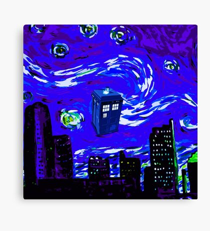 tardis between the sky and the city Canvas Print