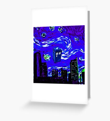 tardis between the sky and the city Greeting Card