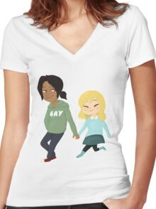 teenage dirtbags [SnK] Women's Fitted V-Neck T-Shirt