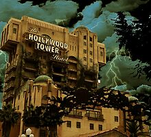 Hollywood Tower with Lightning by JacobCarder