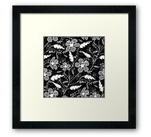 Abstract, black and white, gray floral pattern . Framed Print