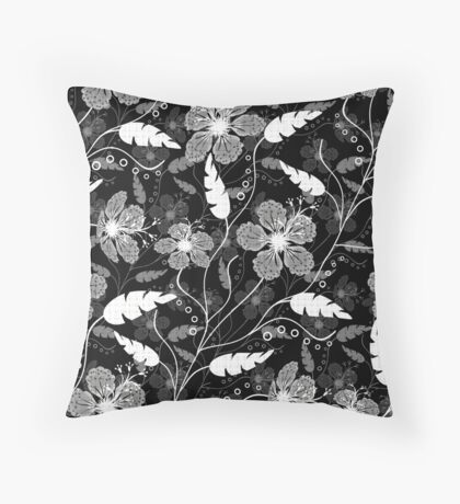 Abstract, black and white, gray floral pattern . Throw Pillow