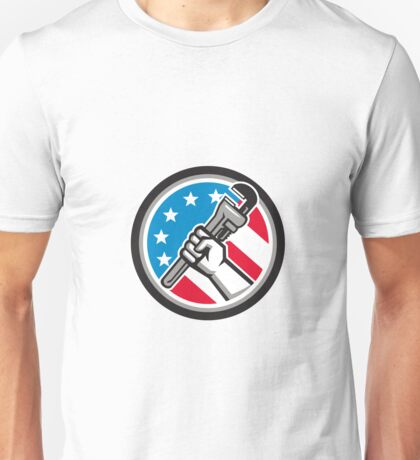 Plumber Hand Pipe Wrench USA Flag Side Angled Circle Unisex T-Shirt