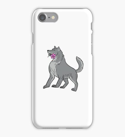 Timber Wolf Holding Plumeria Flower Drawing iPhone Case/Skin