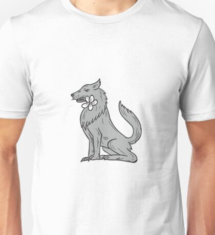 Timber Wolf Sitting Plumeria Flower Drawing Unisex T-Shirt