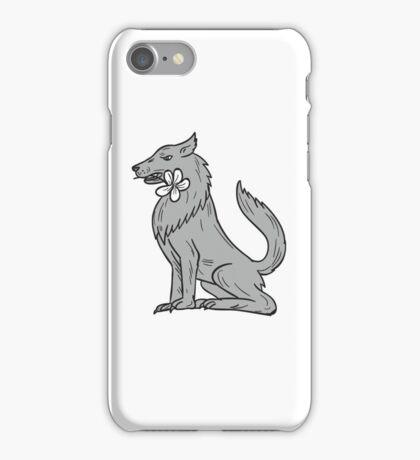 Timber Wolf Sitting Plumeria Flower Drawing iPhone Case/Skin