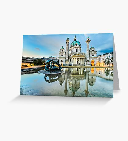 Karlskirche in Vienna, Austria at sunrise Greeting Card