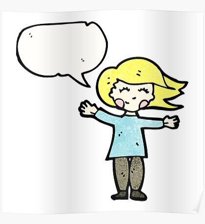 happy blond woman with speech bubble Poster