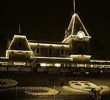 Disneyland Train Station at Night by JacobCarder