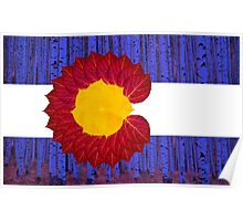 aspen tree Colorado flag Poster